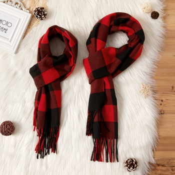 Tassel Plaid Scarves for Mommy and Me