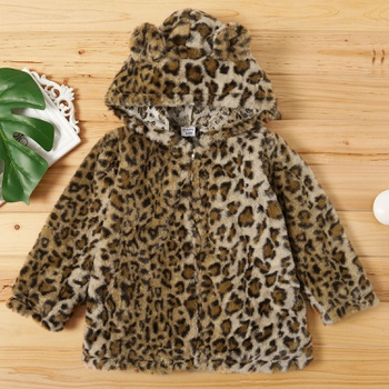 Fashionable Leopard Print Hooded Coat