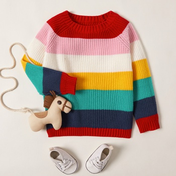 Toddler Colorful Striped Knitted Thermal Sweater