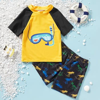 Kids Boy Cartoon Tee and Dinosaur Shorts Set