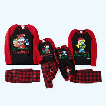 Smurfs Smurfy Christmas Buffalo Check Family Matching Pajamas(Flame Resistant)