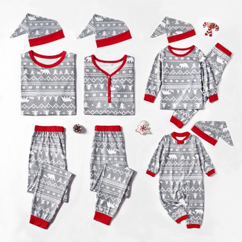 Christmas Theme Patterned Family Matching Pajamas Sets With a Hat (Flame Resistant)