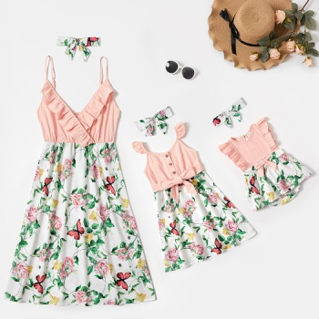 Mommy and Me Floral Print Stitching Solid  Ruffle V-neck Tank Dresses