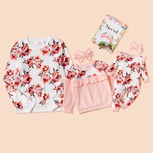 Floral Print Long-sleeve Matching White and Pink Sweatshirts