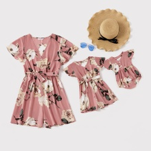 Floral Print V-neck Short-sleeve Matching Pink Shorts Rompers