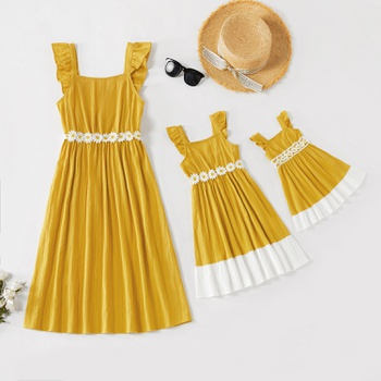 100% Cotton Flutter-sleeve Matching Yellow Midi Dresses