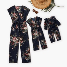 Mommy and Me Floral Print V-neck Tank Jumpsuits