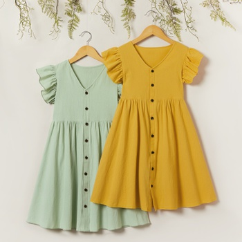 Beautiful Kid Girl Ruffle-sleeve Solid Dress