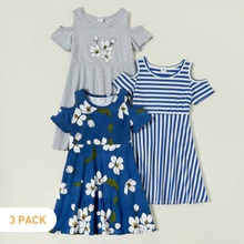 3-piece Floral Striped  Short-sleeve Dress
