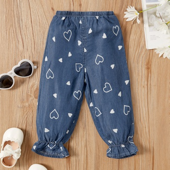 1pc Cowboy Cotton Baby Girl casual Heart-shaped Harem pants Jeans