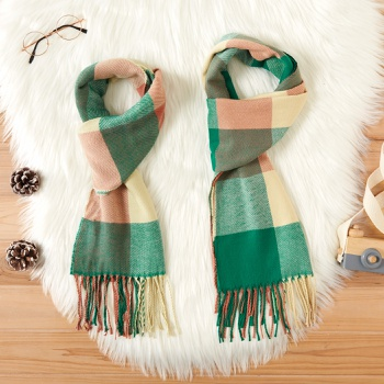 Tassel Decor Plaid Scarves for Mommy and Me
