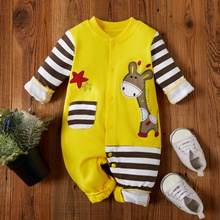 Baby Boy / Girl Giraffe Pocket Design Jumpsuit