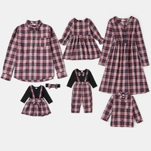 Mosaic Long-sleeve Family Matching Plaid Sets