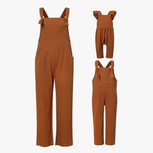 Solid Casual 100% Cotton Tank Jumpsuits for Mommy-girl-baby