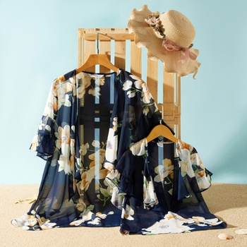 Casual Floral Print Beach Cover Up for Mommy and Me