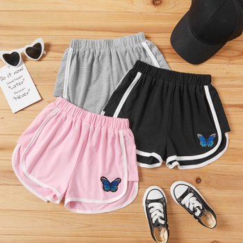 Pretty Kid Girl Embroidered Butterfly Casual Shorts