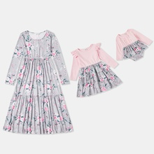 Mosaic Floral Flounce Long-sleeve Dresses for Mommy and Me