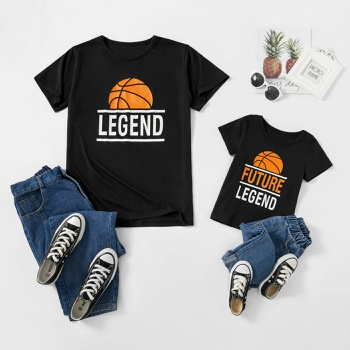 Basketball Print Black T-shirts for Dad and Me
