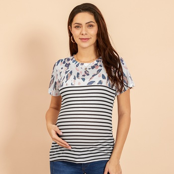 Maternity Round collar Color Block Color block White T-shirt