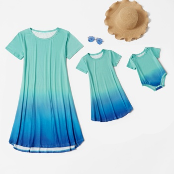 Colorful Green Blue Gradient Tie Dye Short Sleeve Dresses for Mom and Me