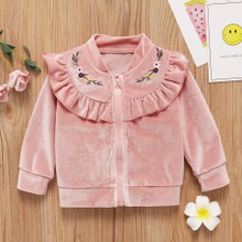 Baby Girl Sweet Floral Coat & Jacket Solid Embroidered Fashion Long Sleeve Infant Clothing Outfits