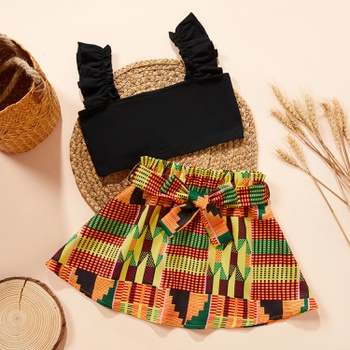 2-piece Baby/Toddler Girl Bohemian style Solid Top and Bow Skirt Set