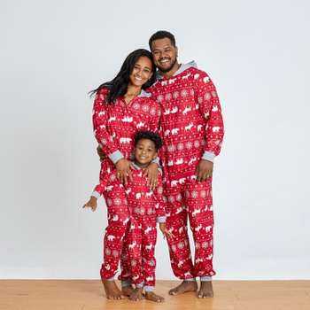 Family Matching Bear and Reindeer Print Christmas Hooded Onesies Pajamas (Flame resistant)