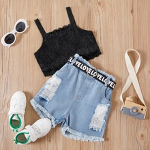 2-piece Baby/Toddler Black Lace Vest and Denim shorts Set