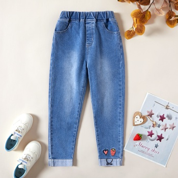 Kids Girl Love Strawberry Embroidered Denim Jeans