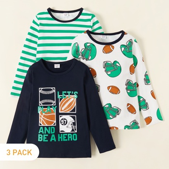 3-piece Soccer Allover Print Striped Longsleeves Tees