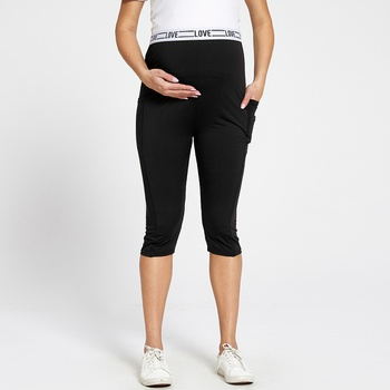 Maternity casual Letter Color block Black Casual pants