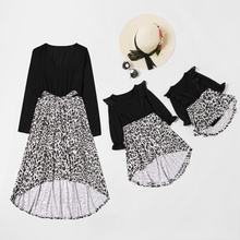 Mommy and Me Long-sleeve Leopard Printed Stitching Dresses