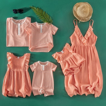 Mosaic Family Matching Cotton Flounced Tank Dresses Stripe T-shirts - Rompers