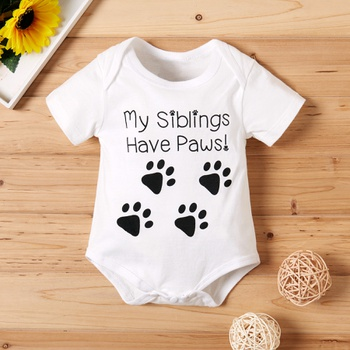 """Interesting """"My Siblings Have Paws"""" Short-sleeve Bodysuit for Baby"""