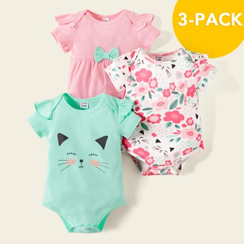 3-pack Baby Cat Floral Bodysuits Set