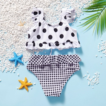 2-piece Toddler Girl Polka dots Camisole and Plaid Briefs Swimsuit