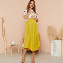 Maternity Round collar Color Block Color block Yellow Midi H Short-sleeve Nursing Dress