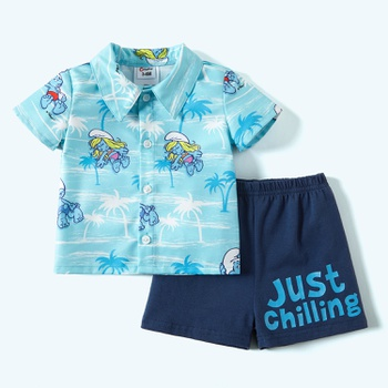 Smurfs Baby Boy 2-piece  Palm Shirt and Shorts Sets