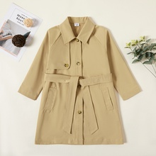 Kid Girl Solid Overcoat
