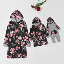 Floral Print Long Sleeve Sweatshirt Dresses for Mommy and Me