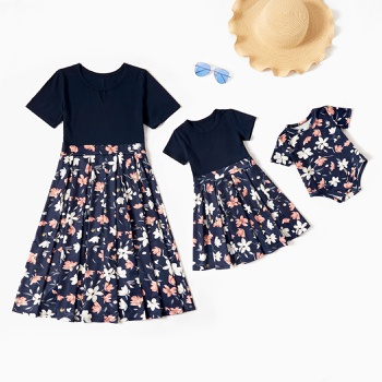 Royal Blue Short-sleeve Splice Floral Print Dresses for Mom and Me