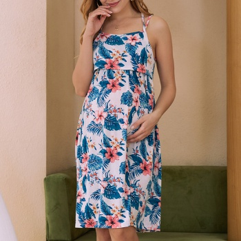 Nursing casual Floral Print Round collar Slip Sleeveless Nursing Dress
