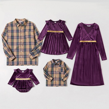 Mosaic Family Matching Sets( Velet Dresses-Button Front Shirts - Rompers)