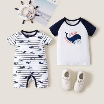 Mosaic  Raglan Short Sleeve Sail Whale Cartoon Print Sibling Sets
