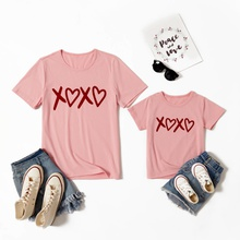Love Print Pink T-shirts for Mom and Me