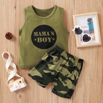 2-piece Baby / Toddler Letter Top and Camouflage Shorts Set