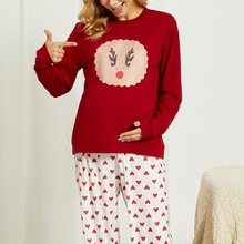Maternity Positioning print Red Pants suit