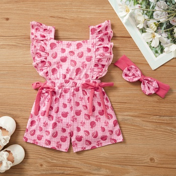 2pcs Baby Girl Sleeveless Fruit straight Jumpsuits
