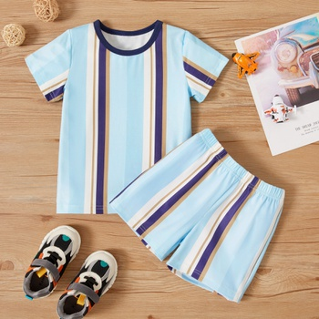 2-piece Toddler Boy Casual Striped Tee and Shorts Set