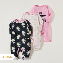 3-pack Baby Sweet Letter Floral Jumpsuit